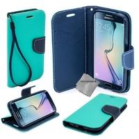 Housse etui coque pochette portefeuille pour Samsung G935 Galaxy S7 Edge + film ecran - BLEU / BLEU