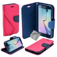 Housse etui coque pochette portefeuille pour Samsung G935 Galaxy S7 Edge + film ecran - ROSE / BLEU