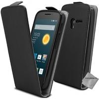Housse etui coque pochette PU cuir fine pour Alcatel One Touch Pop 3 (5.5) + film ecran - NOIR