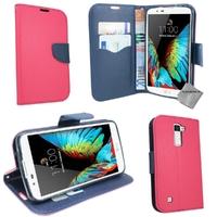 Housse etui coque pochette portefeuille pour LG K10 + film ecran - ROSE / BLEU