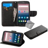 Housse etui coque pochette portefeuille pour Alcatel One Touch Pop 3 (5.0) + film ecran - NOIR / NOIR
