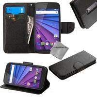 Housse etui coque pochette portefeuille pour Motorola Moto G 3eme generation + film ecran - NOIR / NOIR