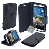Housse etui coque pochette portefeuille pour HTC Desire 620 + film ecran - NOIR / NOIR