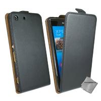 Housse etui coque pochette PU cuir fine pour Sony Xperia M5 Dual + film ecran - NOIR