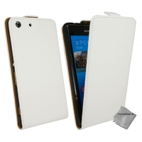 Housse etui coque pochette PU cuir fine pour Sony Xperia M5 Dual + film ecran - BLANC