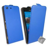 Housse etui coque pochette PU cuir fine pour Sony Xperia M5 Dual + film ecran - BLEU
