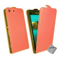 Housse etui coque pochette PU cuir fine pour Sony Xperia M5 Dual + film ecran - ROUGE