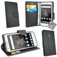 Housse etui coque pochette portefeuille pour Alcatel One Touch Go Play + verre trempe - NOIR / NOIR