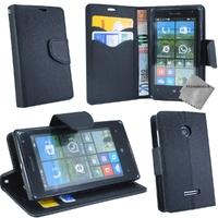 Housse etui coque pochette portefeuille pour Microsoft Lumia 435 + verre trempe - NOIR / NOIR