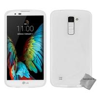 Housse etui coque pochette silicone gel fine pour LG K10 + film ecran - BLANC