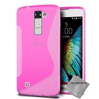 Housse etui coque pochette silicone gel fine pour LG K10 + film ecran - ROSE