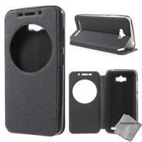 Housse etui coque portefeuille view case pour Asus Zenfone Max ZC550KL + film ecran - NOIR