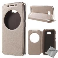 Housse etui coque portefeuille view case pour Asus Zenfone Max ZC550KL + film ecran - CHAMPAGNE