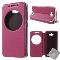 Housse etui coque portefeuille view case pour Asus Zenfone Max ZC550KL + film ecran - ROSE