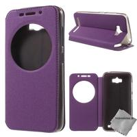 Housse etui coque portefeuille view case pour Asus Zenfone Max ZC550KL + film ecran - MAUVE