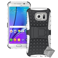 Housse etui coque anti choc pour Samsung G935 Galaxy S7 Edge + film ecran - BLANC