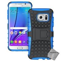 Housse etui coque anti choc pour Samsung G935 Galaxy S7 Edge + film ecran - BLEU