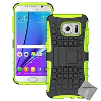 Housse etui coque anti choc pour Samsung G935 Galaxy S7 Edge + film ecran - VERT