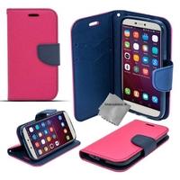 Housse etui coque pochette portefeuille pour Huawei Honor 5x + verre trempe - ROSE / BLEU