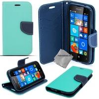 Housse etui coque pochette portefeuille pour Microsoft Lumia 650 + verre trempe - BLEU / BLEU