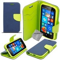 Housse etui coque pochette portefeuille pour Microsoft Lumia 650 + verre trempe - BLEU / VERT