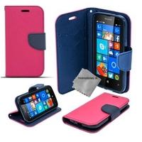 Housse etui coque pochette portefeuille pour Microsoft Lumia 650 + verre trempe - ROSE / BLEU