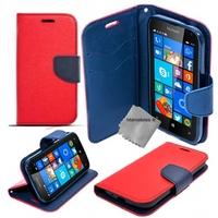 Housse etui coque pochette portefeuille pour Microsoft Lumia 650 + verre trempe - ROUGE / BLEU