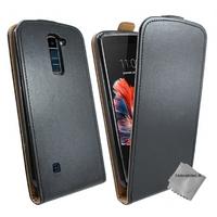 Housse etui coque pochette PU cuir fine pour LG K10 + film ecran - NOIR