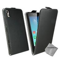 Housse etui coque pochette PU cuir fine pour Lenovo K3 Note + verre trempe - NOIR