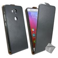 Housse etui coque pochette PU cuir fine pour Huawei Honor 5x + verre trempe - NOIR
