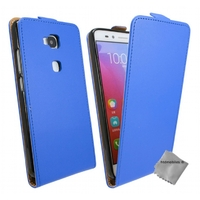 Housse etui coque pochette PU cuir fine pour Huawei Honor 5x + verre trempe - BLEU