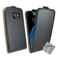 Housse etui coque pochette PU cuir fine pour Samsung G935 Galaxy S7 Edge + film ecran - NOIR
