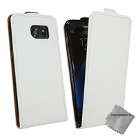 Housse etui coque pochette PU cuir fine pour Samsung G935 Galaxy S7 Edge + film ecran - BLANC