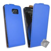 Housse etui coque pochette PU cuir fine pour Samsung G935 Galaxy S7 Edge + film ecran - BLEU