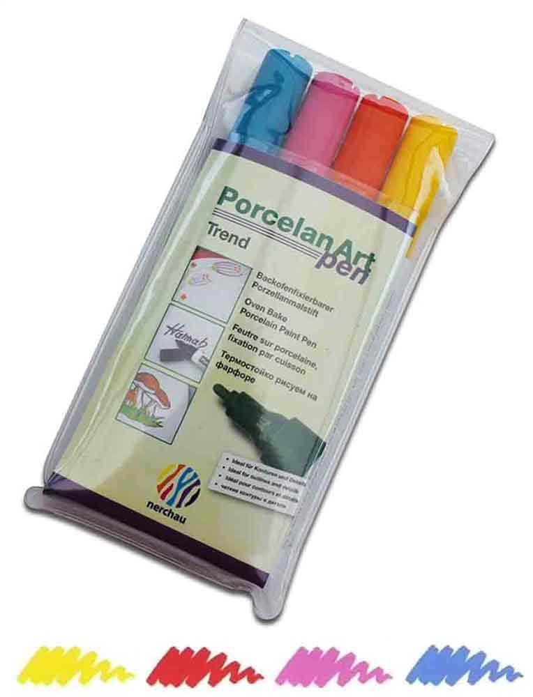 Feutres pour porcelaine -  set de 4 couleurs tendance