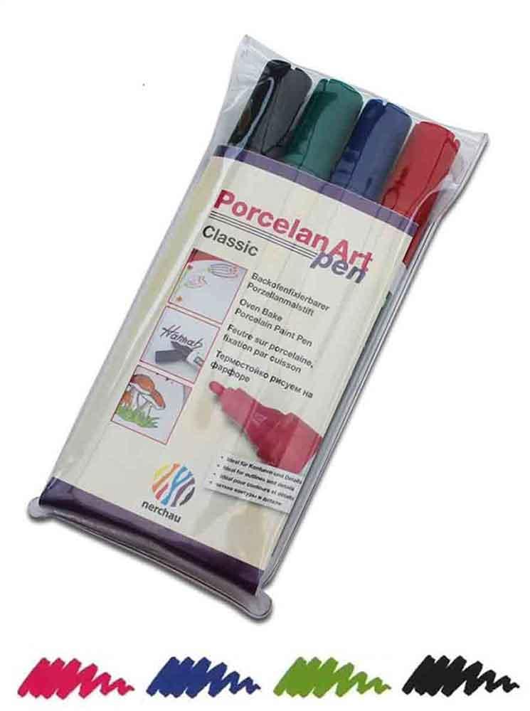 Feutres pour porcelaine - set de 4 couleurs standard