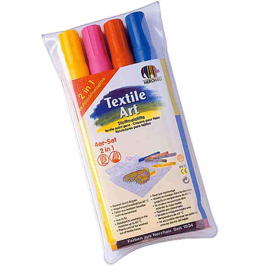 Feutres pour textile , set de 4 couleurs tendance