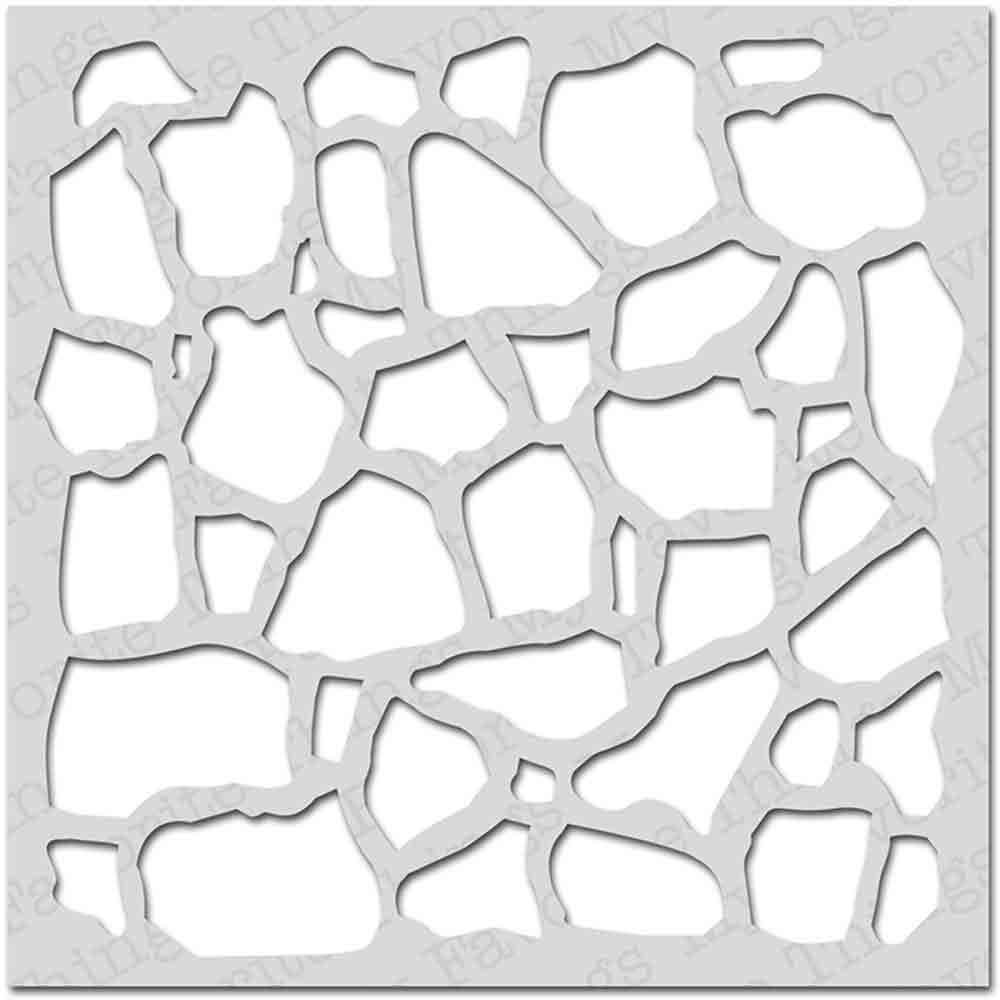 Pochoir - mur de pierres