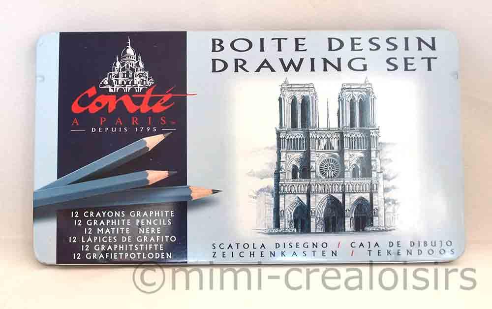 Boîte métal Dessin Conté à Paris