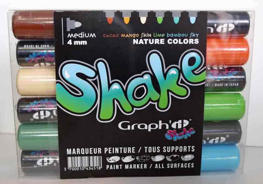 Graph\'it Shake - Set de 6 marqueurs peinture - Assortiment Nature