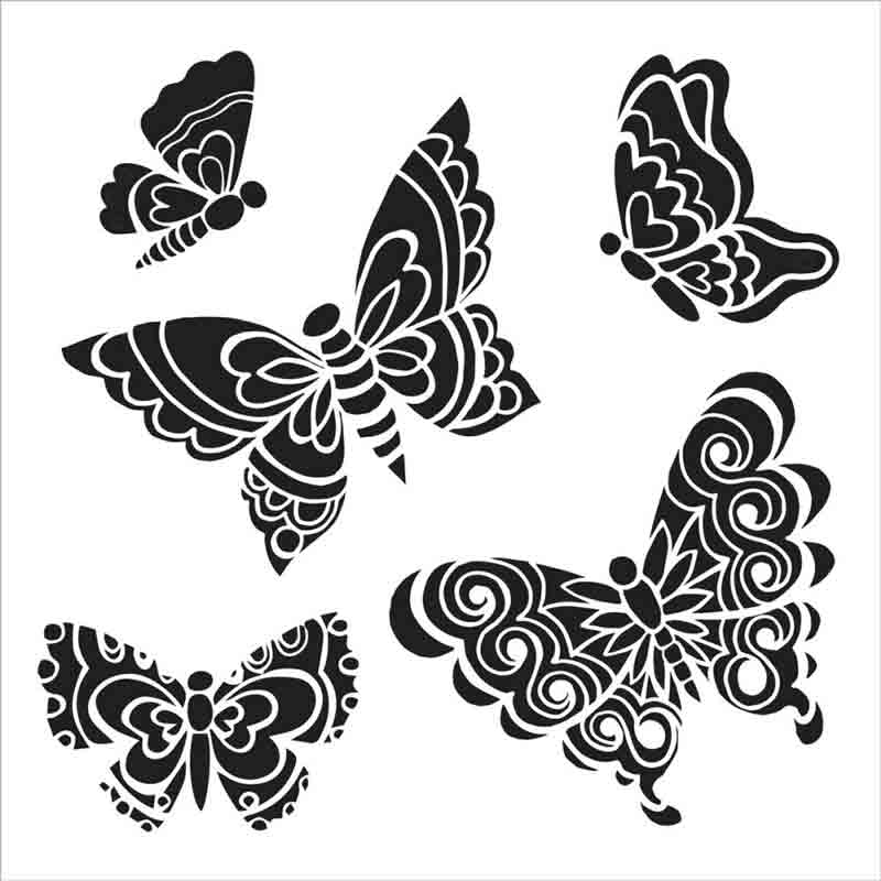 Pochoir motif papillons - 15X15cm (6X6)