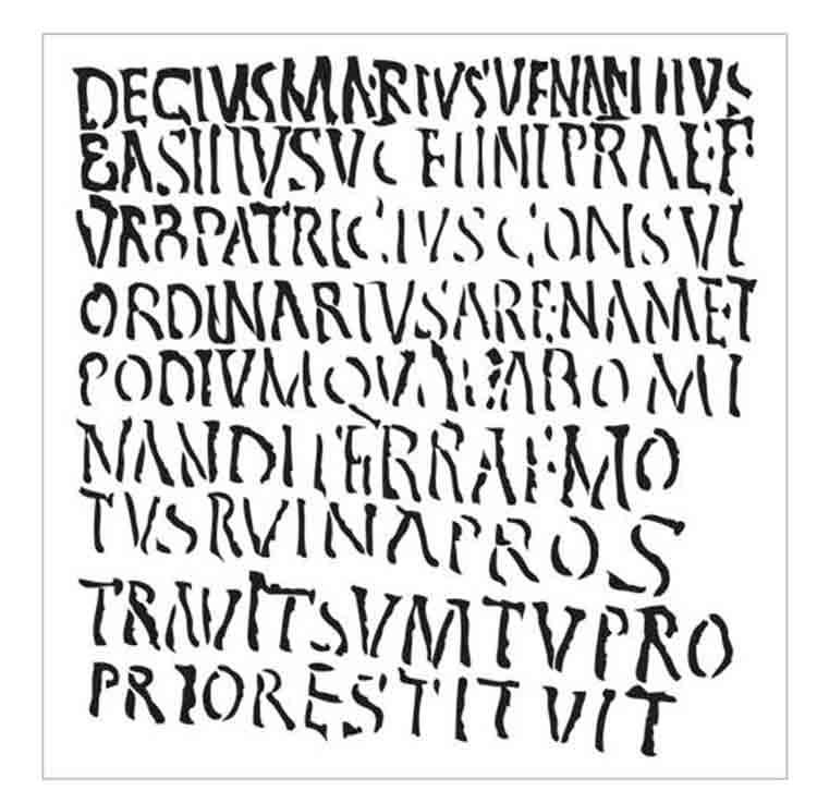 Pochoir écriture, lettres romaines - 15X15cm (6X6)