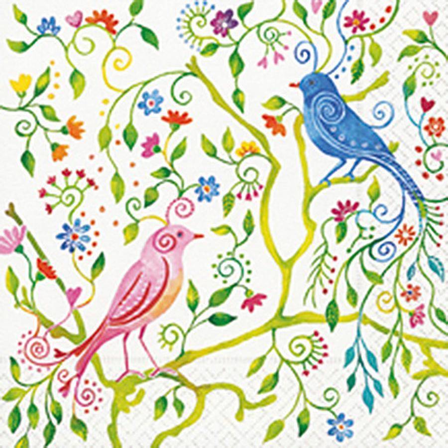 Serviette en papier - Oiseau magique