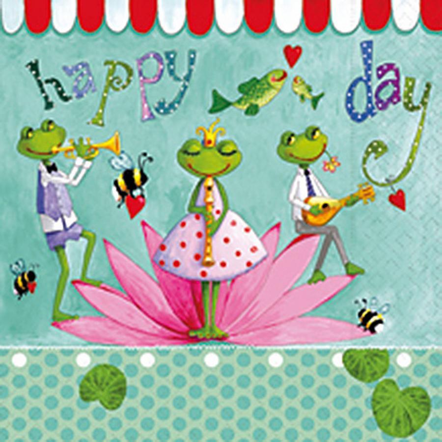 Serviette en papier - Orchestre de grenouilles