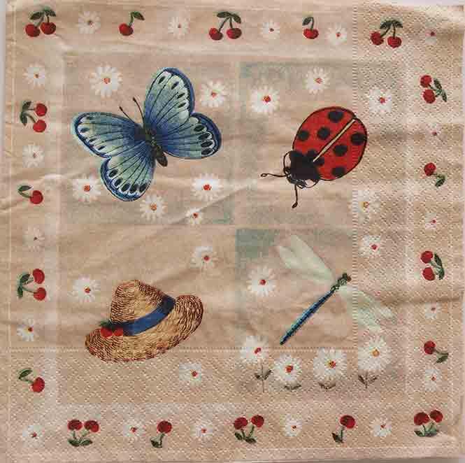 Serviette en papier  - Insectes et papillon