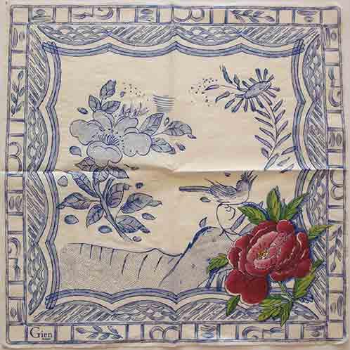 Serviette en papier  - Motif Gien - oiseau et fleur