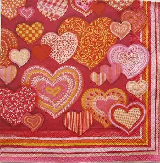 Serviette en papier  - Saint Valentin
