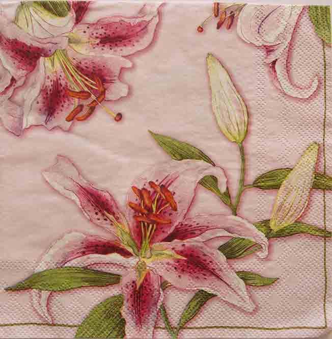 Serviette en papier  - Lys rose