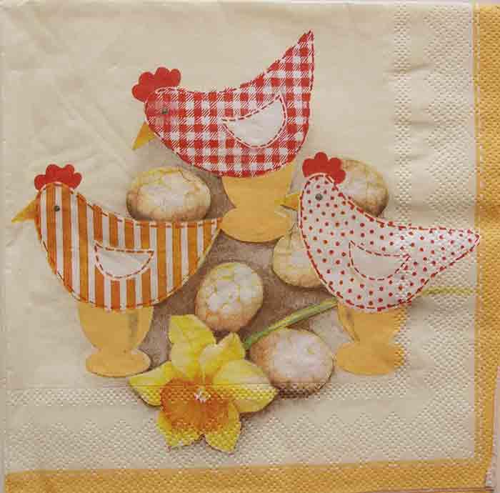 Serviette en papier Pâques   - Les poules