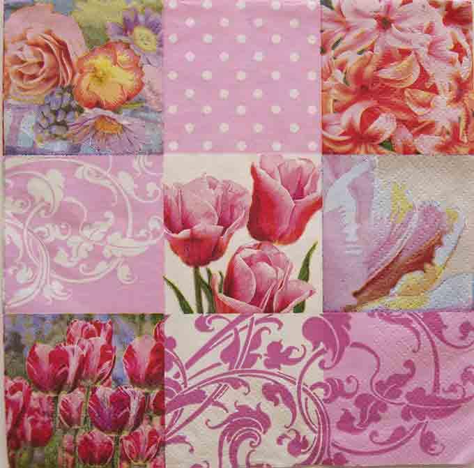 Serviette en papier  - patchwork de fleurs